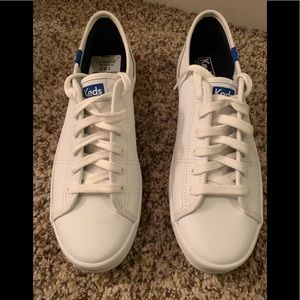 Keds white and blue leather sneakers 8m